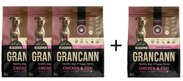 Grancann Chicken & Fish with Hemp seeds-Puppy all breeds (3 +1 ZDARMA)